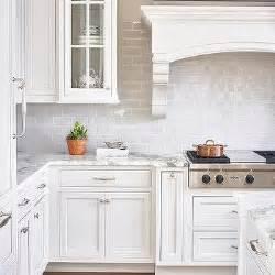 Mini Subway Tile Kitchen Backsplash White And Gray Kitchen With Accents Transitional Kitchen