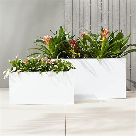 Big White Planters by Blox White Large Rectangular Planters Cb2