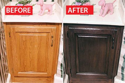 sanding kitchen cabinets before staining before after a honey oak cabinet refinished ehow 7867