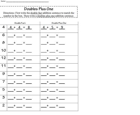 doubles plus one worksheet my classroom