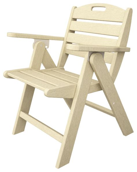 nautical low back folding chair sand outdoor recycled