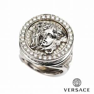 versace 18k white gold diamond set medusa and greca ring With wedding rings versace