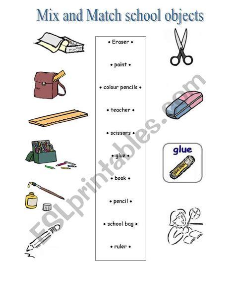 mix  match school objects esl worksheet  jobc