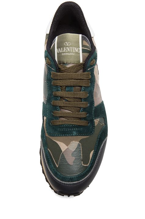 Lyst - Valentino Rockstud Camouflage Canvas Suede Trainers