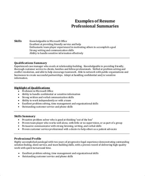 Professional Summary Resume Template by Sle Professional Resume 7 Exles In Pdf