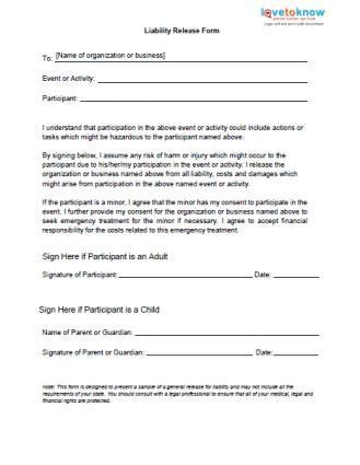 liability release forms   general liability