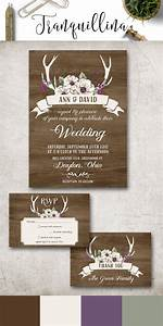 deer antlers wedding invitation printable rustic wedding With free printable deer wedding invitations