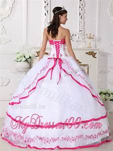Layered White and Hot Pink Quinceanera Dresses Organza Beading