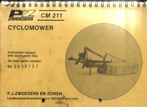 pz zweegers cm211 cyclomower mower operators parts manual