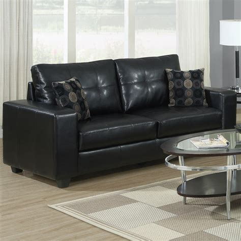 black leather sofa pillows black bonded leather sofa with 2 accent pillows