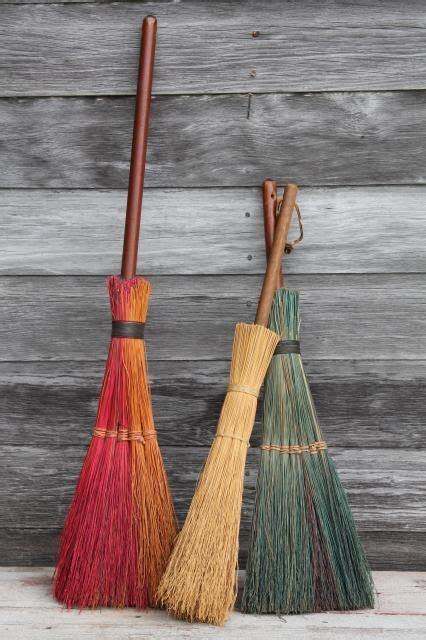 primitive corn broom collection vintage straw brooms