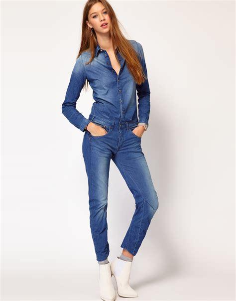 blue jumpsuit womens g gstar denim jumpsuit in blue lyst