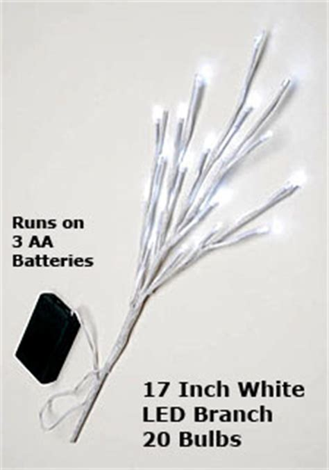 17 inch white led branch battery operated 20 lights