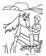 Coloring Farm Pages Horse Farmer Colouring Printable Sheets Horses Animals Print Drawing Animal Petting Raisingourkids Drawings Fun Jobs Feeding Help sketch template