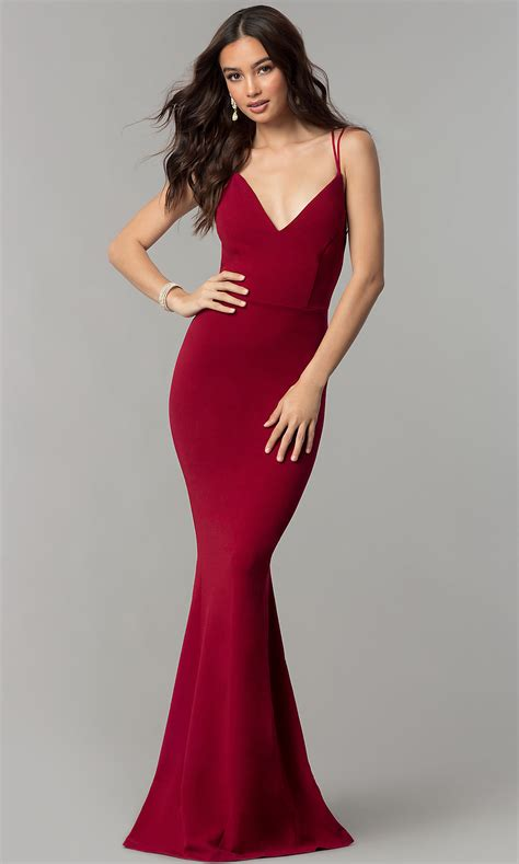 Long Open-Back V-Neck Cheap Prom Dress - PromGirl