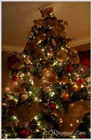 christmas tree garland with burlap - Burlap Christmas Tree Garland