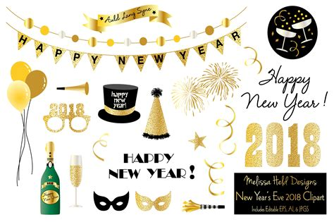 New Year Clipart New Year S 2018 Clipart Illustrations Creative Market