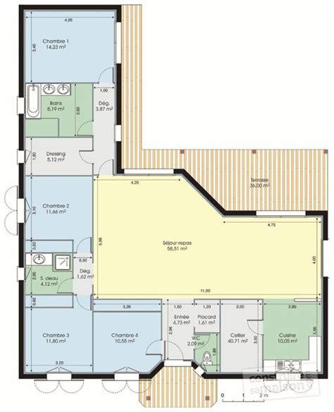 plan maison en l 4 chambres plan maison en l plain pied 4 chambres 12 plans 233tage