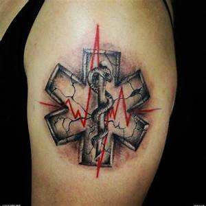 3D style designed medical cross symbol tattoo on shoulder ...