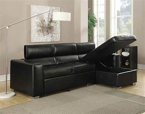 Contemporary black bonded leather match sectional sofa for Leather sectional sofa with pull out bed