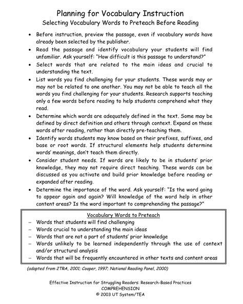 Vocabulary Ways To Build Word Knowledge  Building Rti