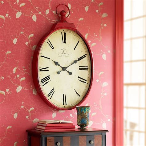 Red Antiqued Wall Clock Tick Tock Tick Tock Clock Red