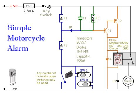 a simple transistor based motorcycle alarm circuit wiring diagrams