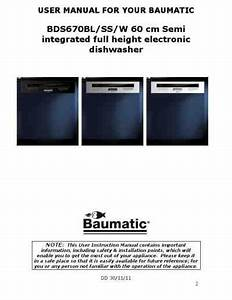 Baumatic Bds 670 Ss Dishwasher Download Manual For Free