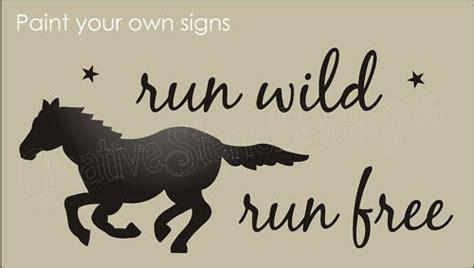 lg stencil running mustang horse run wild  western