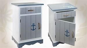 Table De Chevet Bleu : table de chevet style bord de mer blanc et bleu ~ Preciouscoupons.com Idées de Décoration