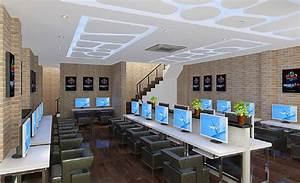 Internet cafe interior brick wall design download d house