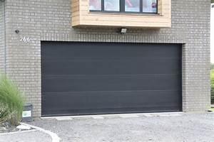 porte grise lisse design smf services With porte de garage sectionnelle grise