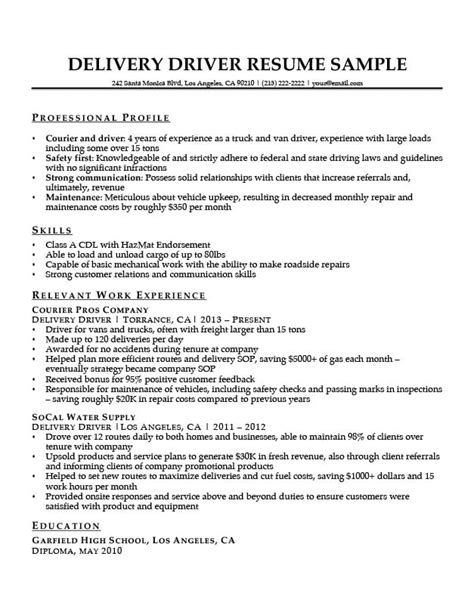 Driver Skills Resume by Delivery Driver Resume Sle Resume Companion
