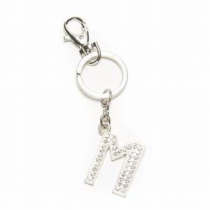 silver crystal letter m quotmquot clasp keyring chain keys With letter keychains silver