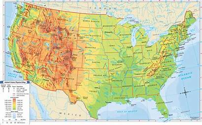 Map Physical States United Usa Labeled Canada