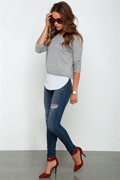 Made My Day Grey Sweater Top Cute Outfit | Womenu0026#39;s Fashion | Style | Jeans | Denim | #fashion ...