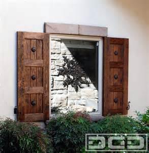 Exterior Rustic Shutter Window Treatments