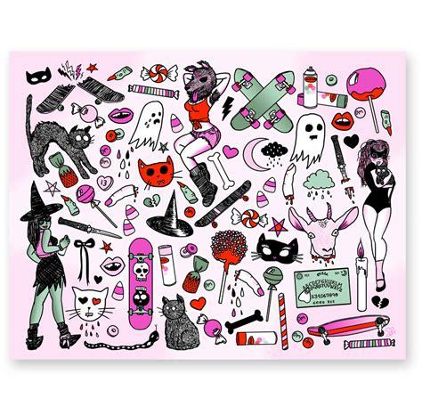 Creepy Cruisers Tattoo Flash Sheet Print