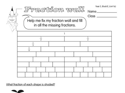 fraction towers a year 5 fractions worksheet