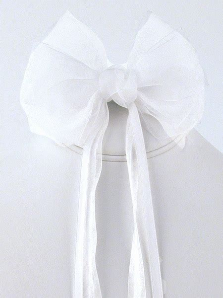 white organza hair clip  ribbon