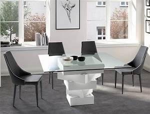 Table A Manger Carree : table manger carr e bois laqu blanc et verre kaz ~ Teatrodelosmanantiales.com Idées de Décoration