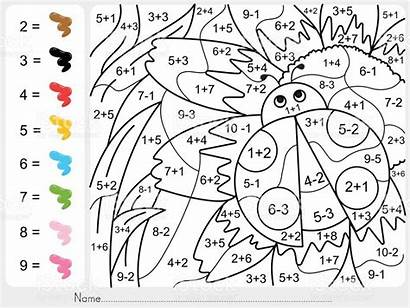Numbers Paint Coloring Number Worksheets Subtraction Addition