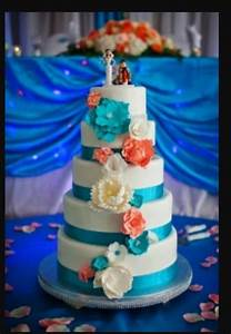 Coral and turquoise wedding cakes wedding pinterest for Coral and turquoise wedding ideas