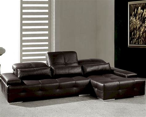 Modern Chocolate Tufted Leather Sectional Sofa Set 44l0568