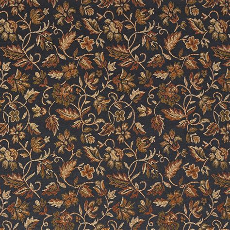 floral black gold green  orange damask upholstery