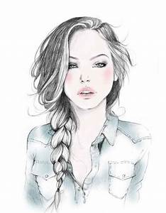 girl with braided hair drawing | college | Pinterest ...