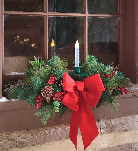 Outdoor Window Sill by Window Swag With Candle Outdoor