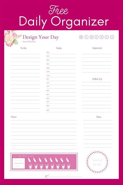 daily organizer printable planner daily planner