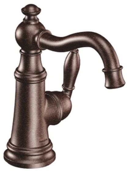 rubbed bronze bath faucets moen s42107orb weymouth single handle bathroom sink faucet