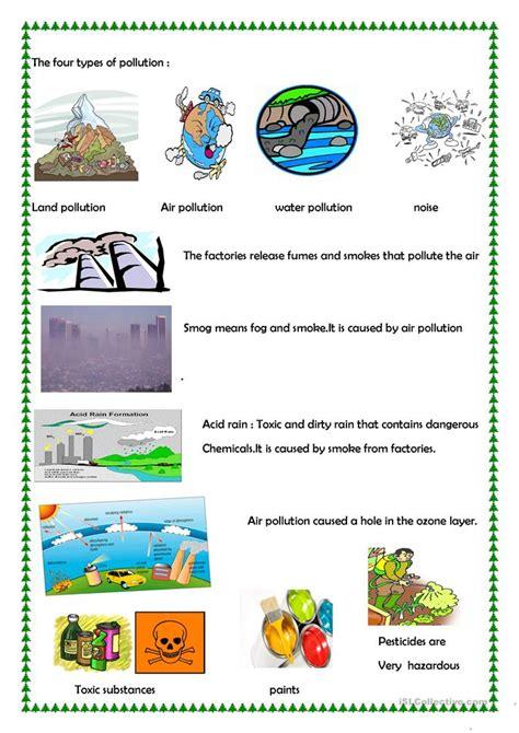 pollution worksheet  esl printable worksheets